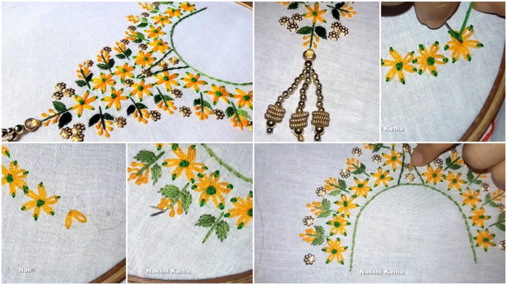 Neckline Embroidery Lazy Daisy Stitch For Kurthi Neck Simple Craft Ideas,Powerpoint Template Design Free Download 2020