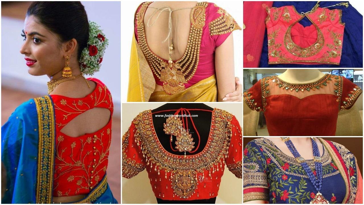 218d4514abe15 Latest saree blouse designs for silk sarees - Simple Craft Ideas