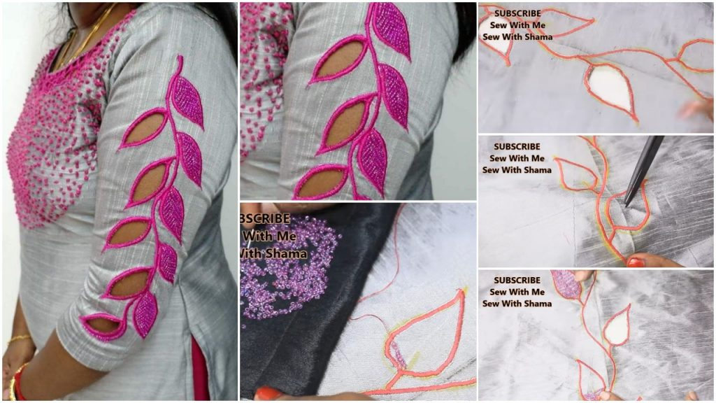 Cut work embroidery sleeves making very simple