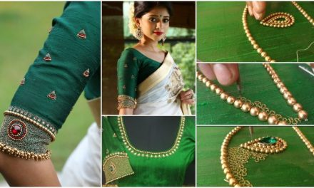 Embroidery on wedding blouse