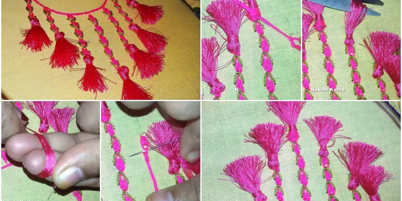 Neckline embroidery for kurtis and kameez