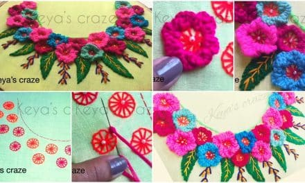 Hand embroidery for kurti neckline