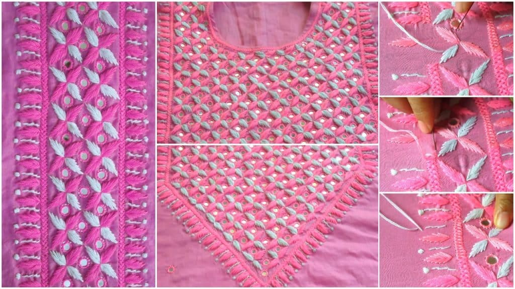Hand Embroidery Dress Design With Mirror Work Simple Craft Ideas
