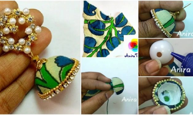 Trendy grand kalamkari jhumka earring tutorial