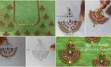 Making beautiful design by aari work embroidery