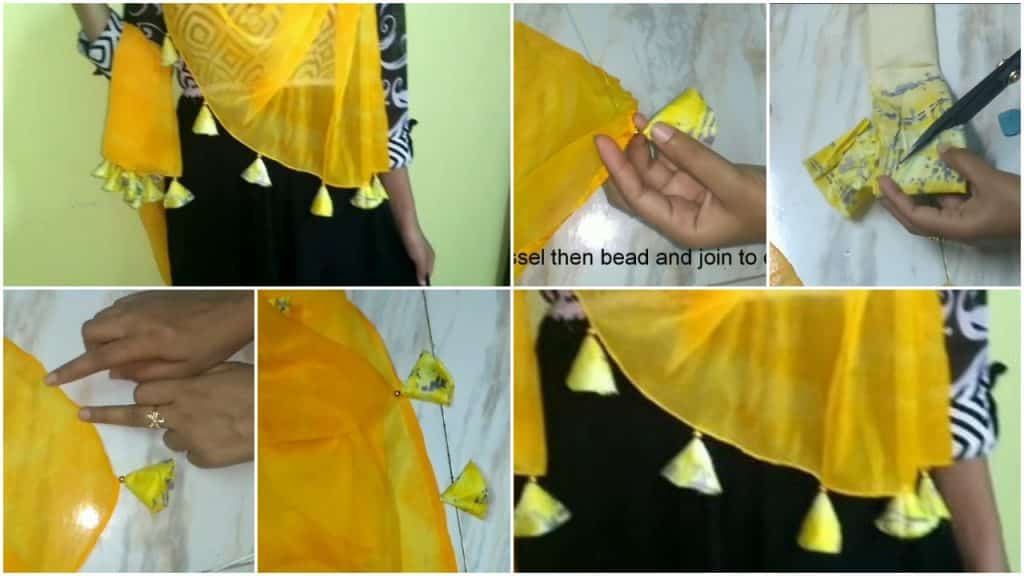 Design your sari,stole with hanging tassels and edging beads