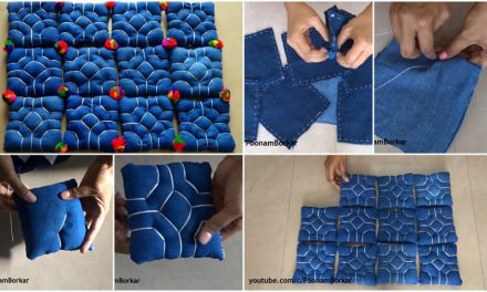 Floor mat or table mat from old denim