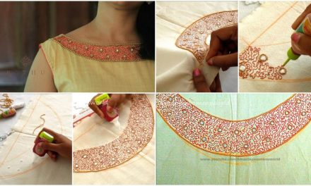 Pani work designer neckline for kurti