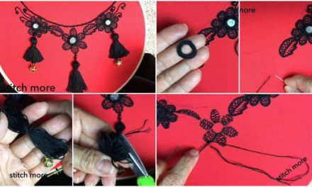 How to make neck embroidery design with tassels
