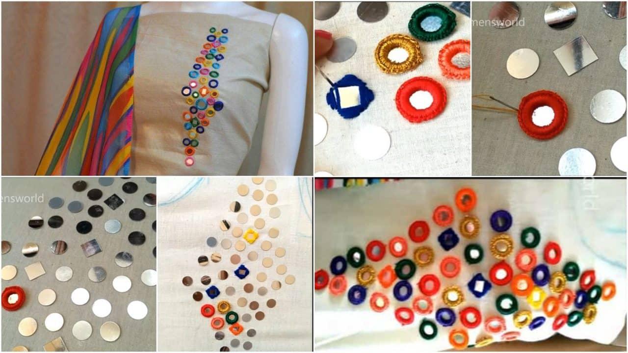 Creative mirror work designing kurti - Simple Craft Ideas