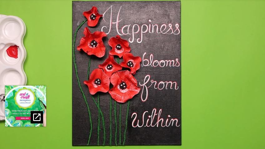 canvas with shilpkar poppy flowers