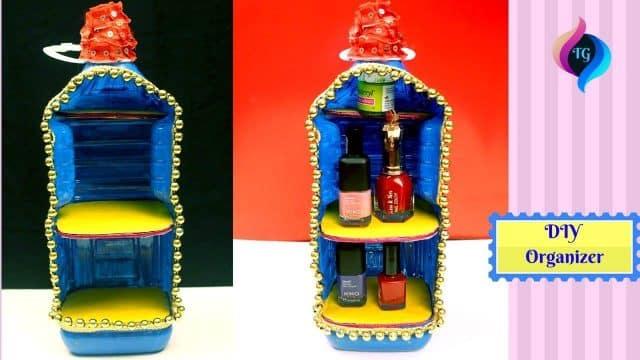 Plastic bottle makeup organizer