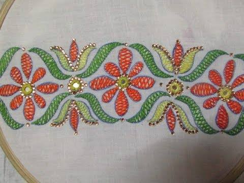 How to sew hand embroidery herringbone stitch