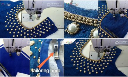 "How to stitch on bead work embroidery neckline""U"" neck"