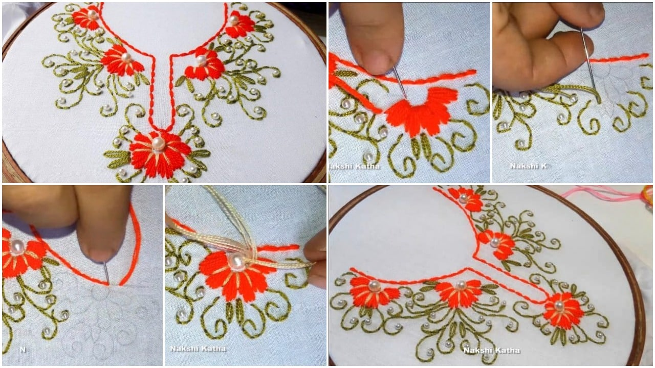 Hand embroidery neck designs
