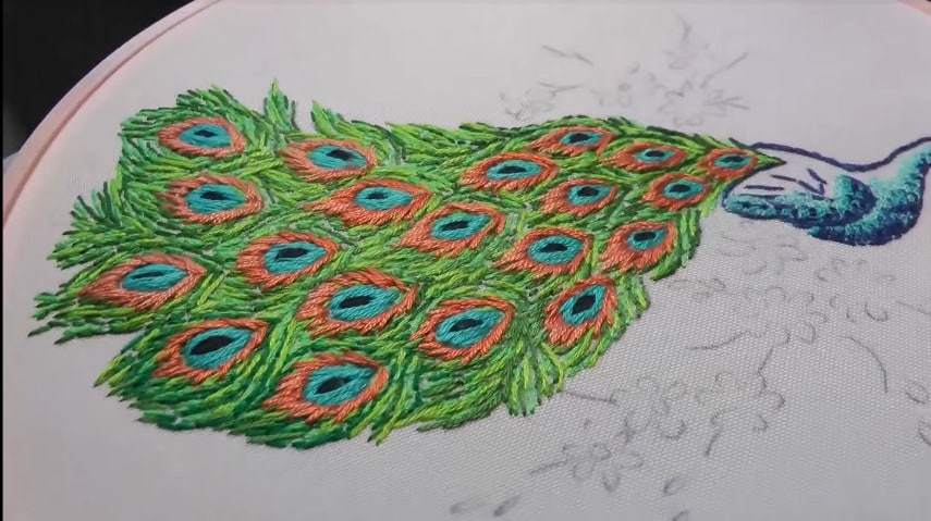 hand embroidery peacock