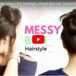 1 Minute easy everyday messy bun hairstyle