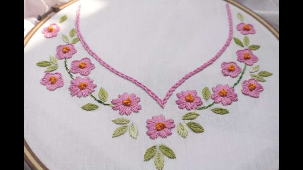 Hand Embroidery Neckline Simple Craft Ideas