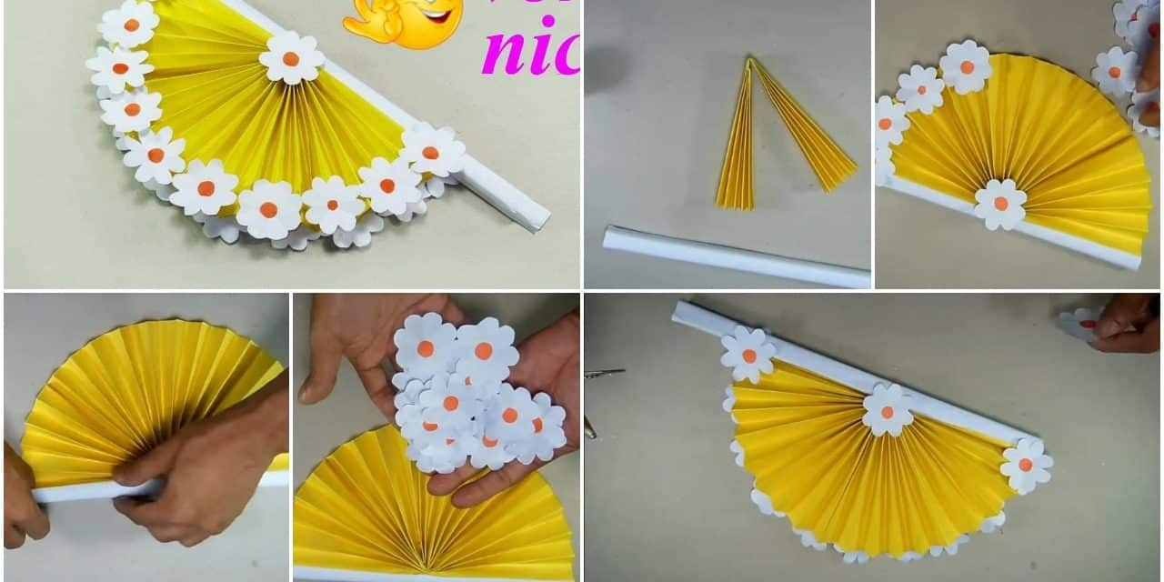 How To Make Hand Fan Out Of Color Papers Simple Craft Ideas