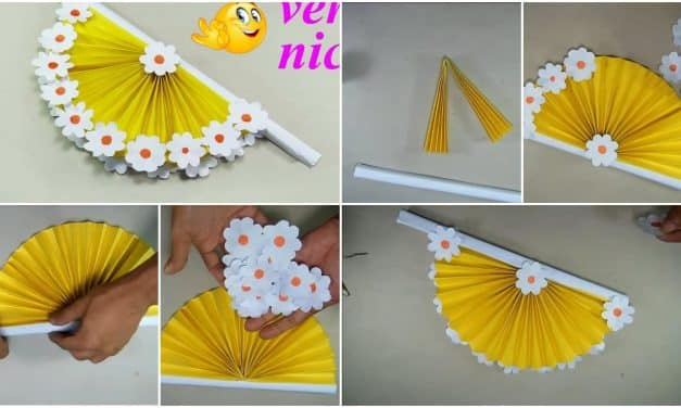 How to make hand fan out of color papers
