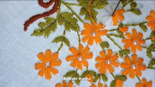 Hand embroidery satin stitch