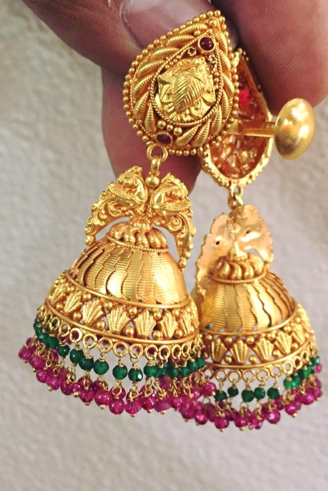 Traditional south indian temple jewellery jhumkas - Simple