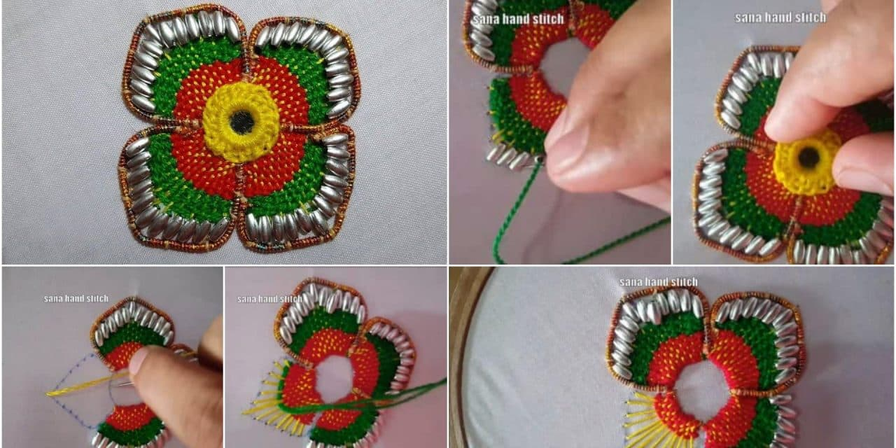 Hand Embroidery Beautiful Border Flower Stitch For Handwork Simple