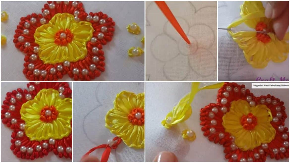 Hand embroidery ribbon with pearls flower