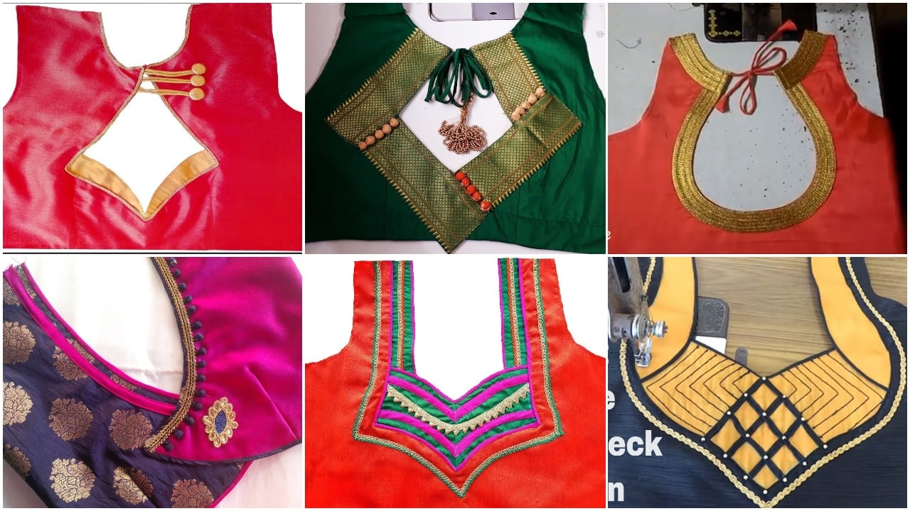 Beautiful back neck blouse designs cutting and stitching