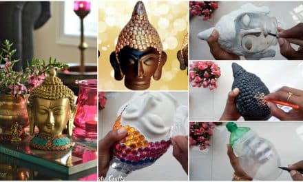 How to make clay mural buddha with plastic bottle