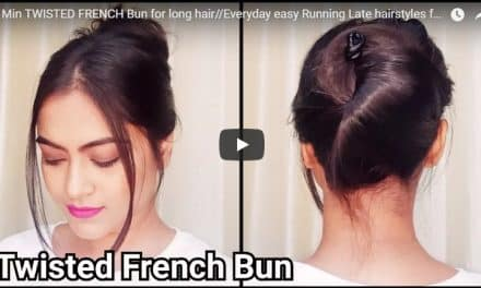 1 Min twisted french bun for long hair