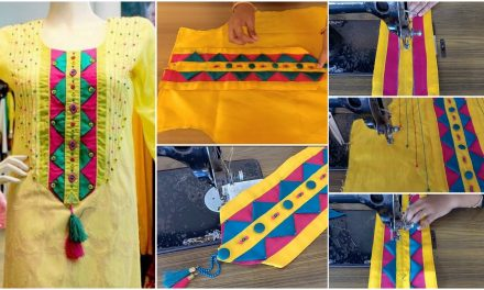 Beautiful front neck design for kurti with handmade patches