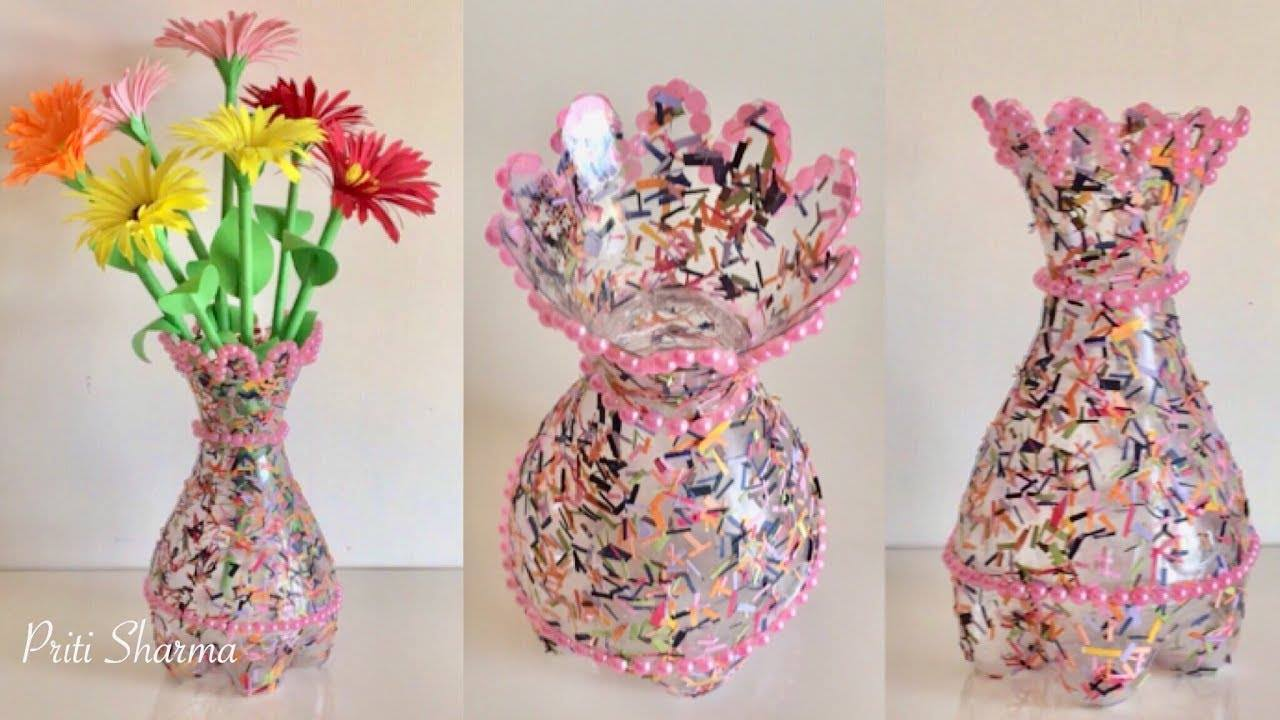flower vase  sc 1 st  Simple Craft Ideas & How to make a plastic bottle flower vase - Simple Craft Ideas