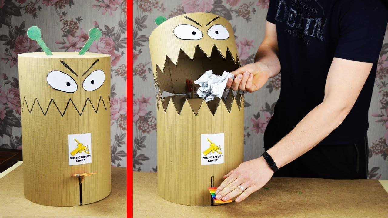 How To Make Funny Toy Trash Can From Cardboard Simple Craft Ideas