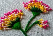 flowers with polan stitch