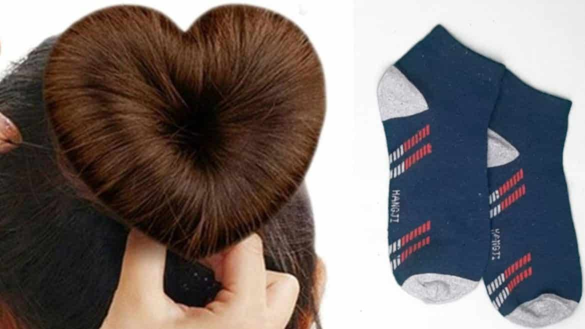 Heart Hair Bun Using Socks