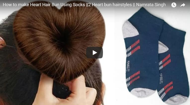 How to make heart hair bun using socks