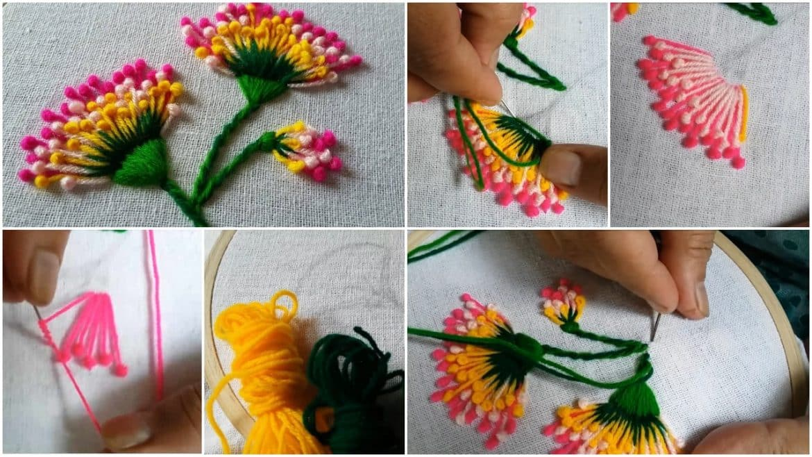Hand embroidery of flowers with polan stitch