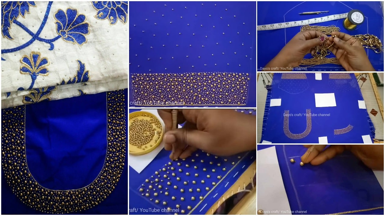 Heavy beadwork embroidery for kurti