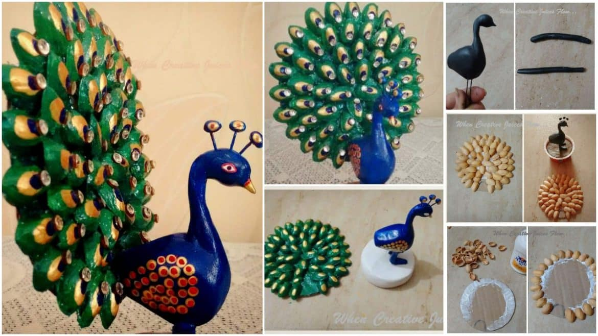 How to make dancing peacock from pista shell