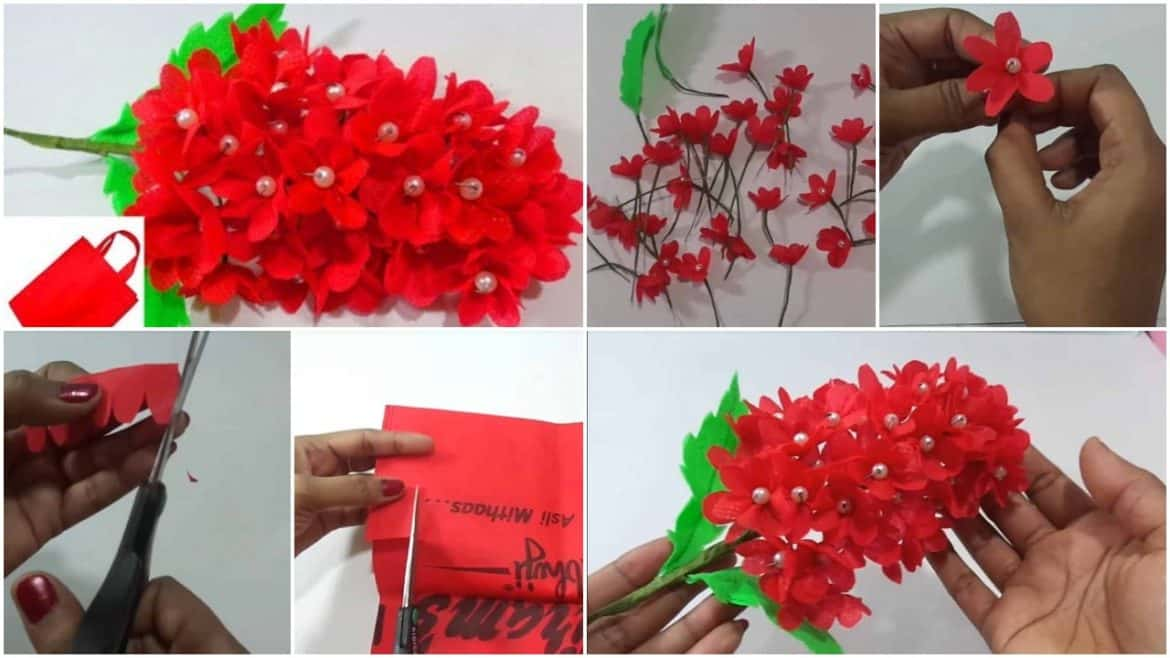 How to make red flower bunches using old shopping bag
