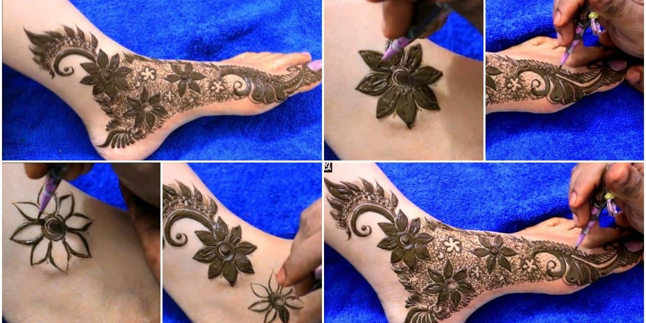 Stylish dubai mehndi design for feet