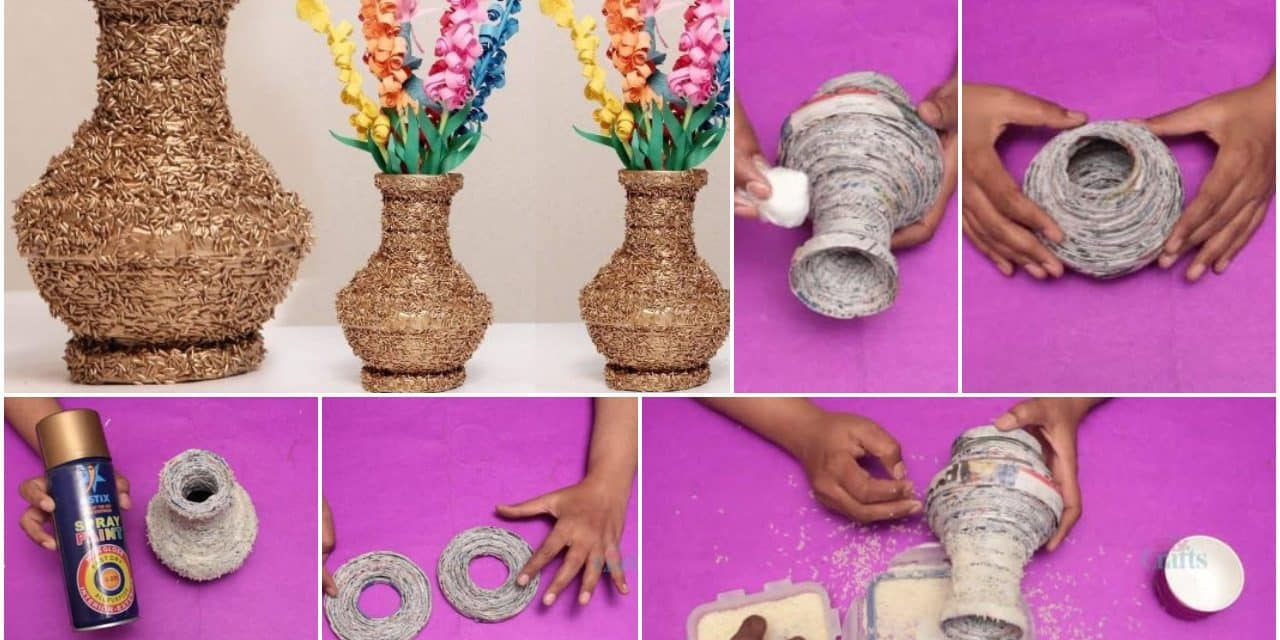 How to make a vase from a newspaper and rice