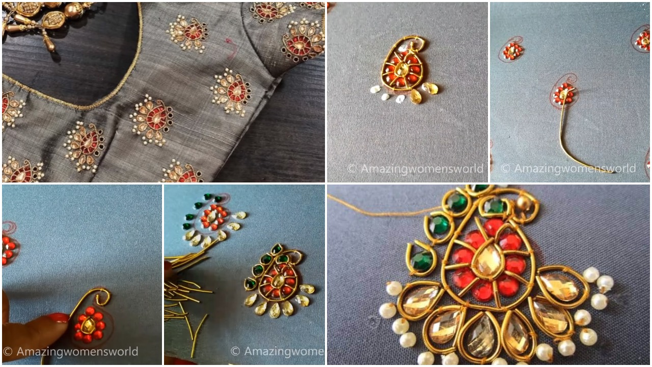 Hand embroidery kundan work for blouses
