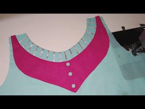 Very beautiful kurti neck design cutting and stitching