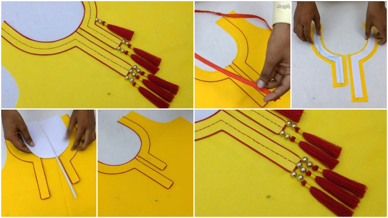Piping latkan neck design for kurtis dress cutting and stitching