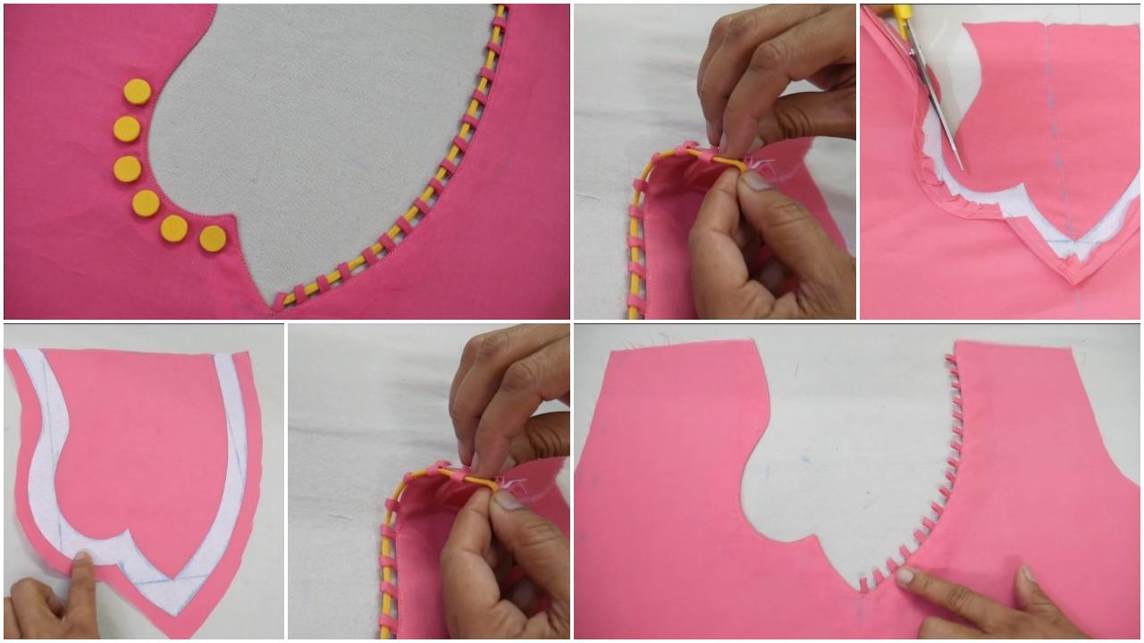 Latest stylish neck design cutting and stitching