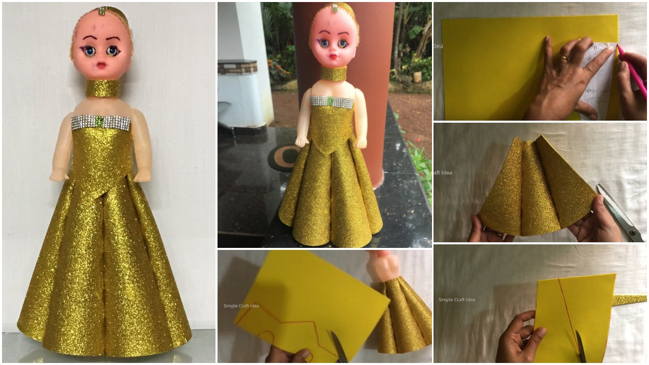How To Make Doll Dress With Foam Simple Craft Ideas
