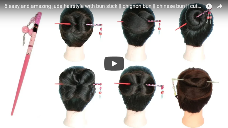6 Easy And Amazing Juda Hairstyle With Bun Stick Simple Craft Ideas