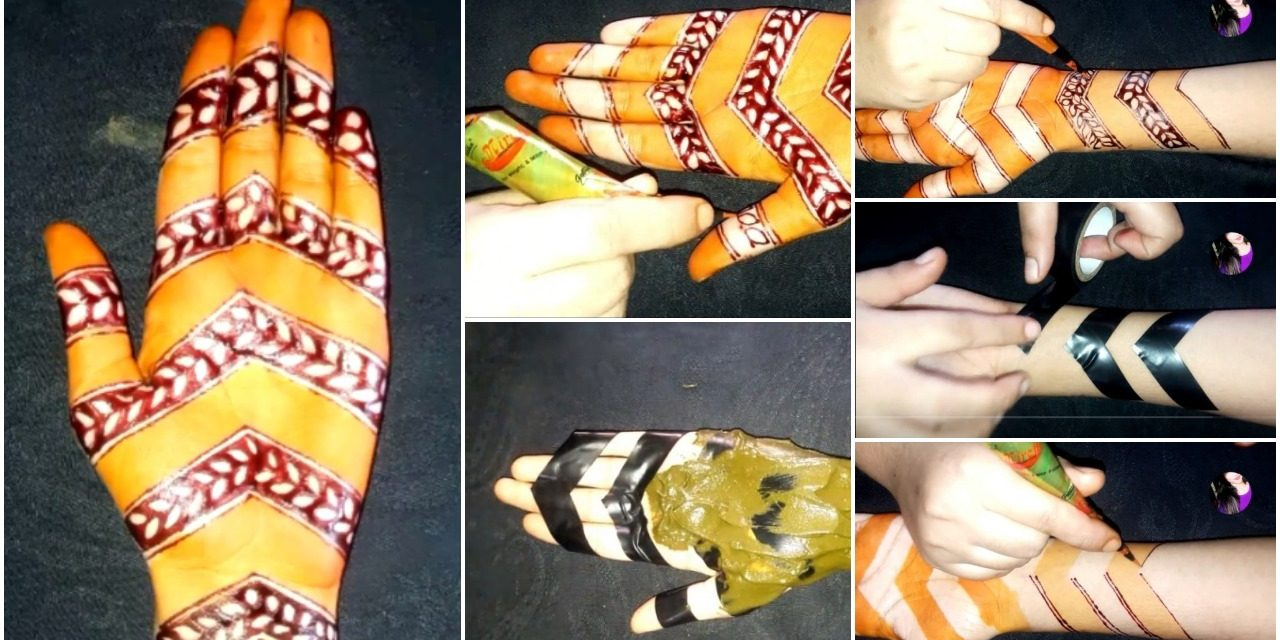 How to apply full hand mehndi with the help of cello tape